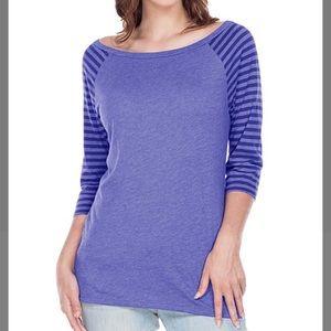 Cobalt Blue Stripe-Sleeve Boatneck Top